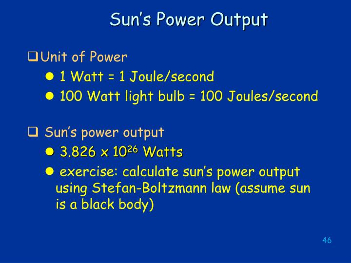 Sun's Power Output