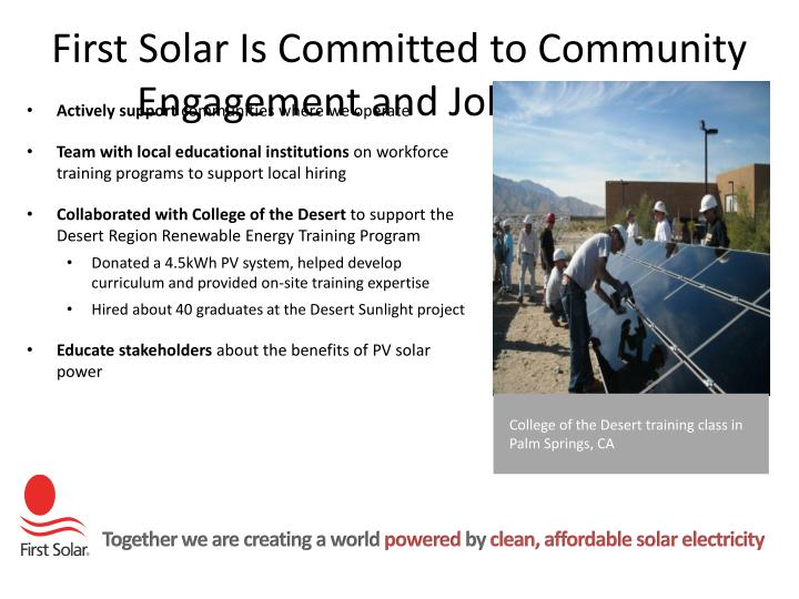 First Solar Is Committed to Community Engagement and Job Training
