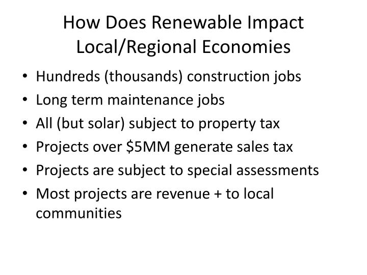 How Does Renewable Impact Local/Regional Economies