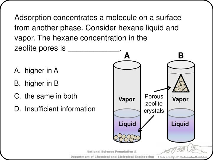Adsorption concentrates a molecule on a surface