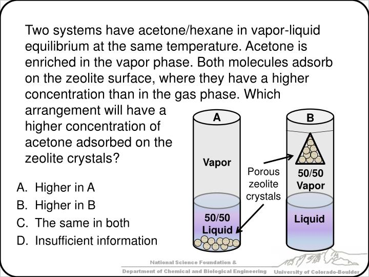Two systems have acetone/hexane in vapor-liquid equilibrium at the same temperature. Acetone is enriched in the vapor phase. Both molecules adsorb on the zeolite surface, where they have a higher concentration than in the gas phase. Which arrangement will have a