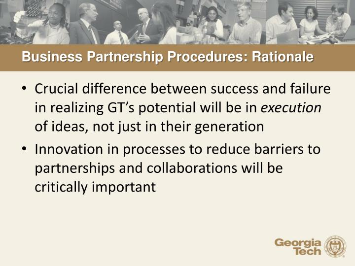 Business Partnership Procedures: Rationale