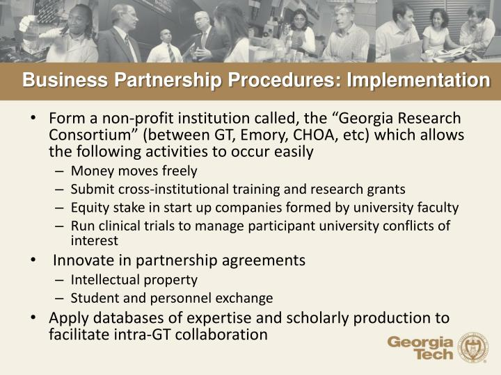 Business Partnership Procedures: Implementation