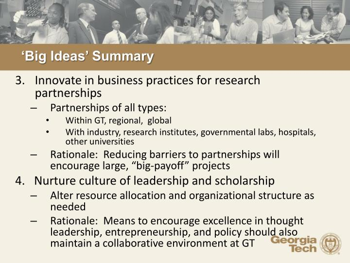 'Big Ideas' Summary