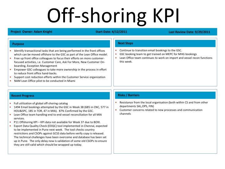 Off-shoring KPI