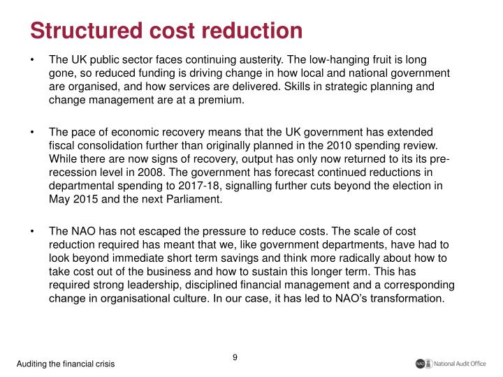 Structured cost reduction