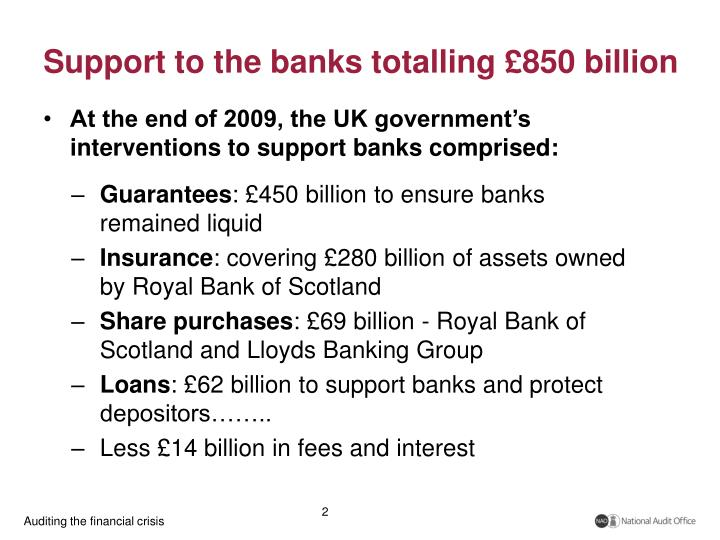 Support to the banks totalling 850 billion