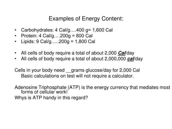 Examples of Energy Content: