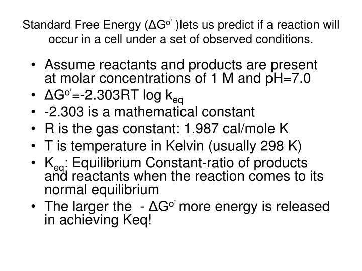 Standard Free Energy (ΔG