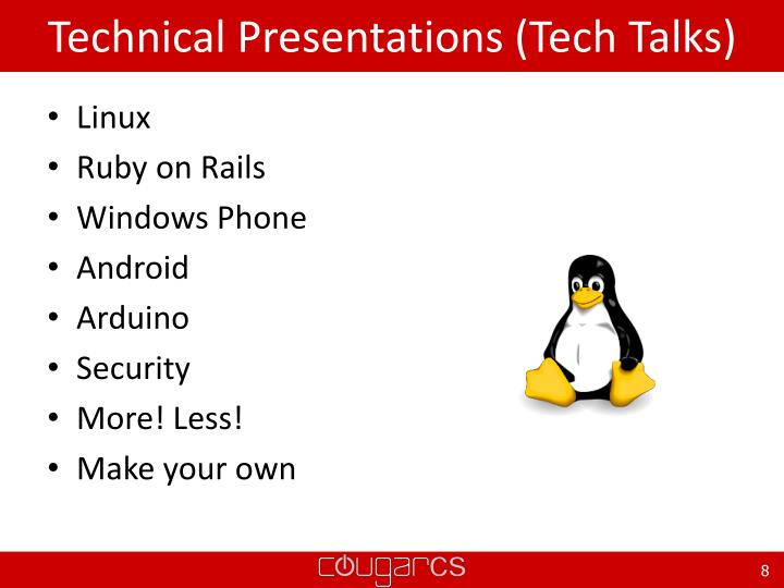 Technical Presentations (Tech Talks)