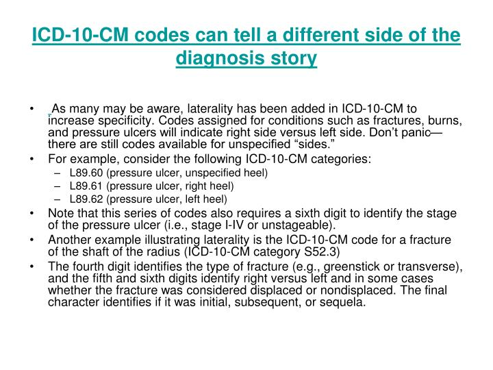 ICD-10-CM codes can tell a different side of the diagnosis story