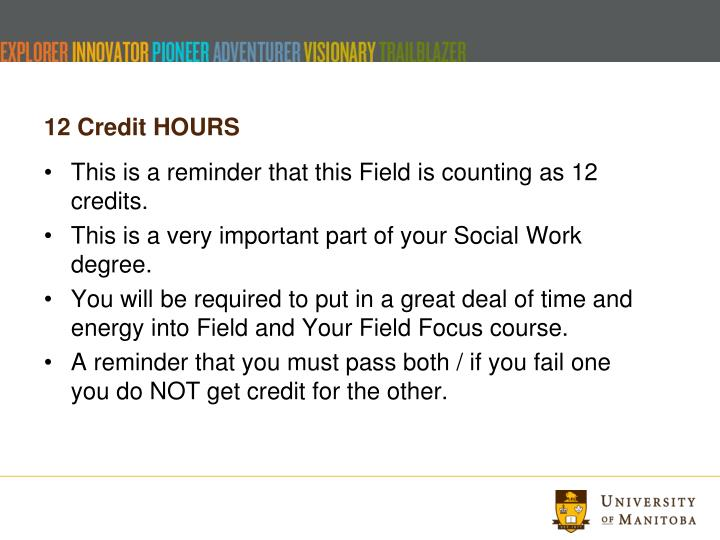 12 Credit HOURS