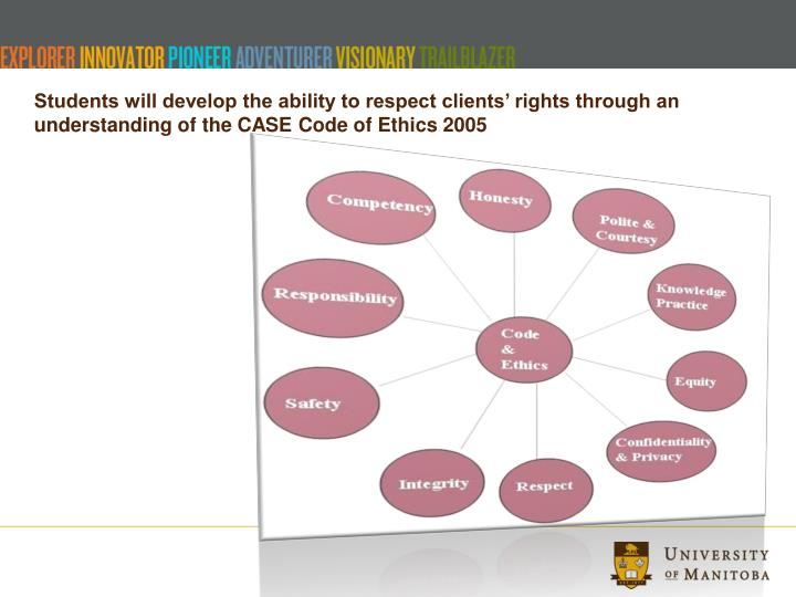 Students will develop the ability to respect clients' rights through an understanding of the CASE Code of Ethics 2005