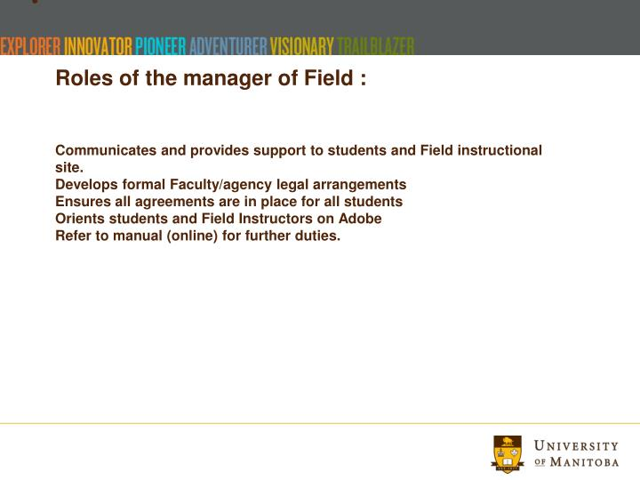 Roles of the manager of Field :