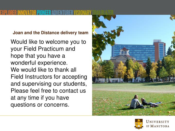 Joan and the Distance delivery team