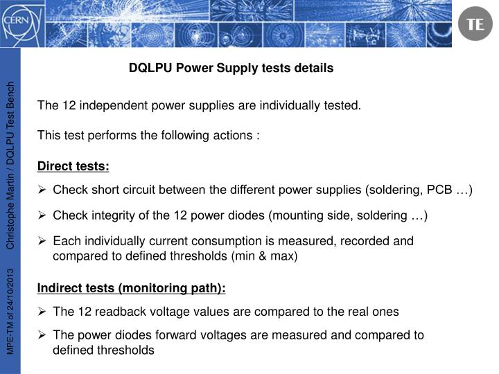 DQLPU Power Supply tests details