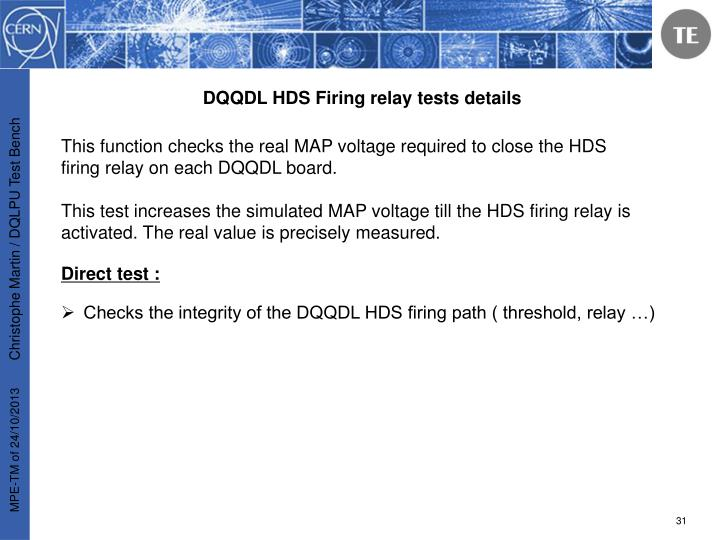 DQQDL HDS Firing relay tests details