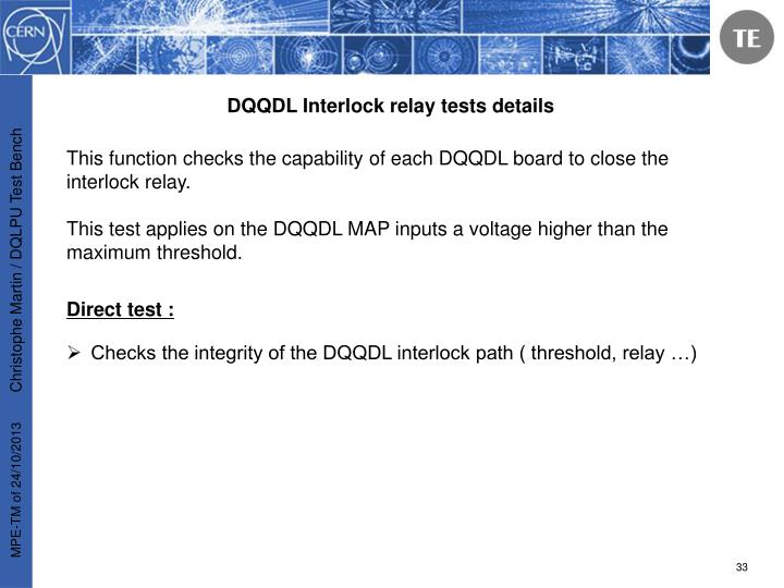 DQQDL Interlock relay tests details