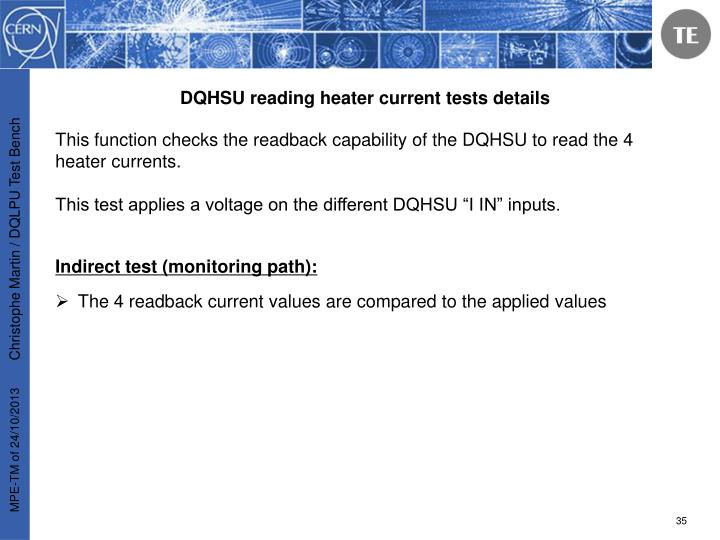 DQHSU reading heater current tests details