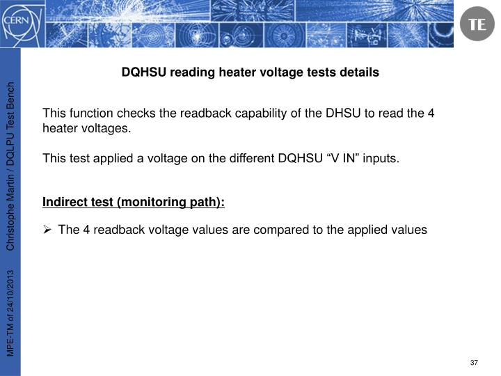 DQHSU reading heater voltage tests details