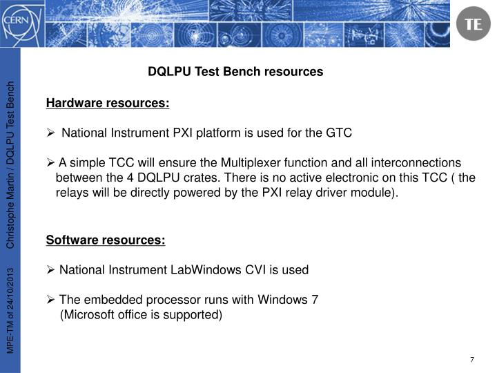 DQLPU Test Bench resources