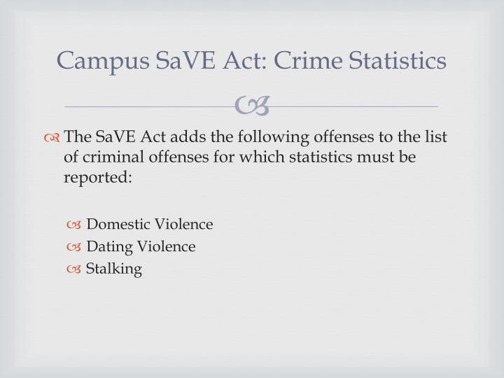 Campus SaVE Act: Crime Statistics