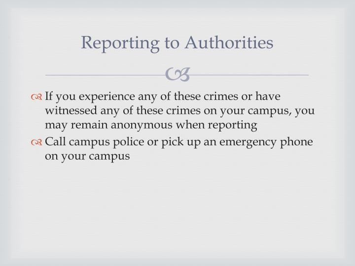 Reporting to Authorities
