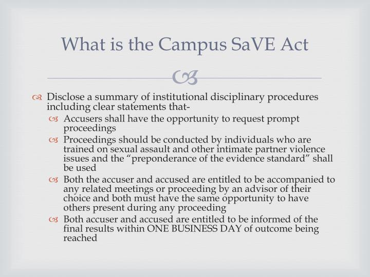 What is the Campus SaVE Act