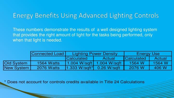 Energy Benefits Using Advanced Lighting Controls