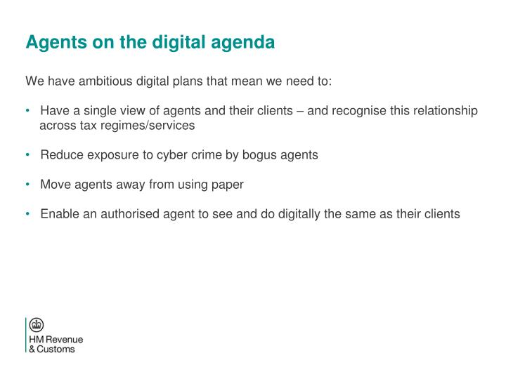 Agents on the digital agenda