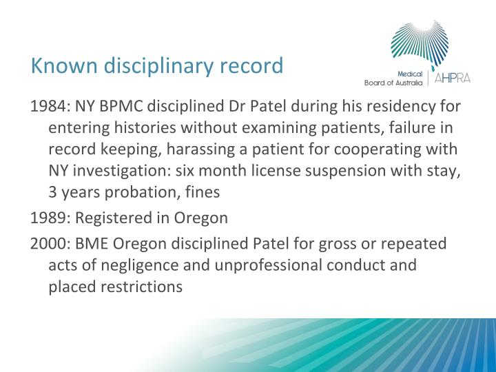 Known disciplinary record