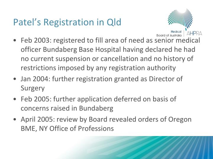 Patel's Registration in Qld