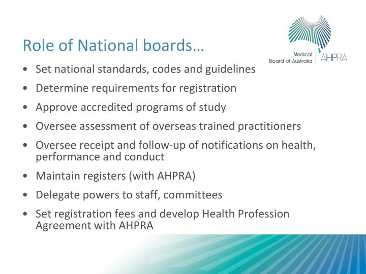 Role of National boards…