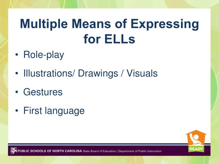 Multiple Means of Expressing for ELLs