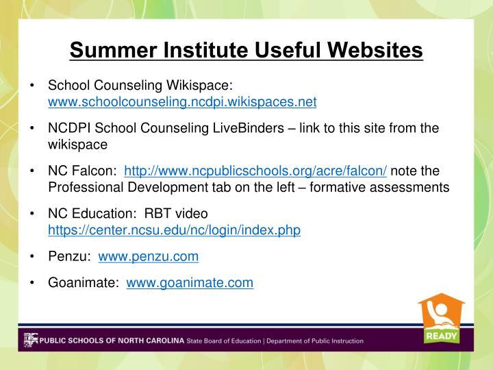 Summer Institute Useful Websites