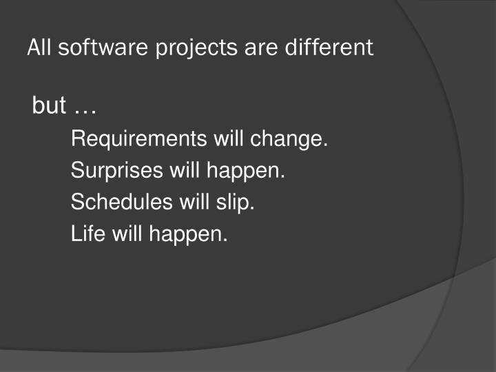 All software projects are different