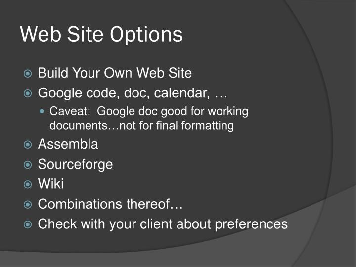 Web Site Options