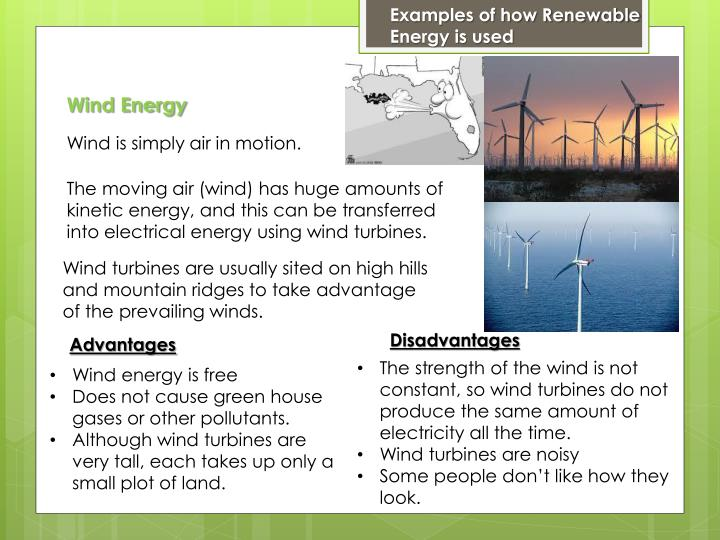 Examples of how Renewable Energy is used