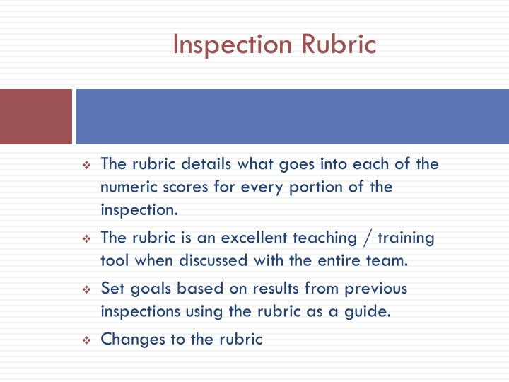 Inspection Rubric