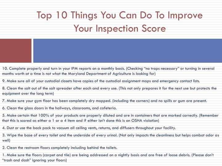 Top 10 Things You Can Do To Improve Your Inspection Score