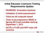 initial educator licensure testing requirements update