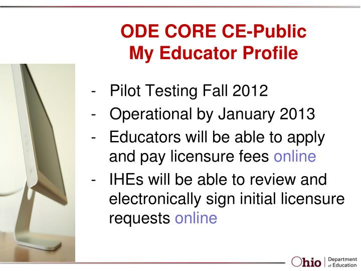 Ode core ce public my educator profile