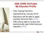 ode core ce public my educator profile
