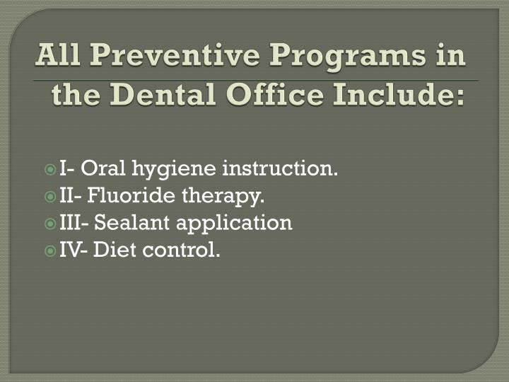 All Preventive Programs in the Dental Office Include: