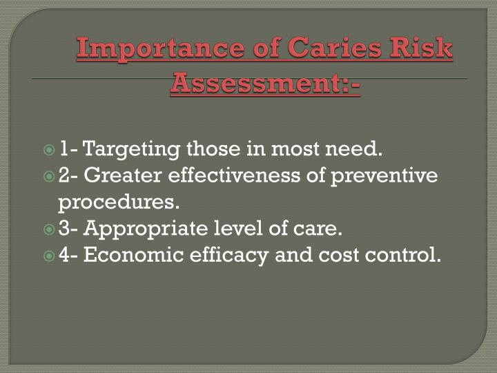 Importance of Caries Risk Assessment:-
