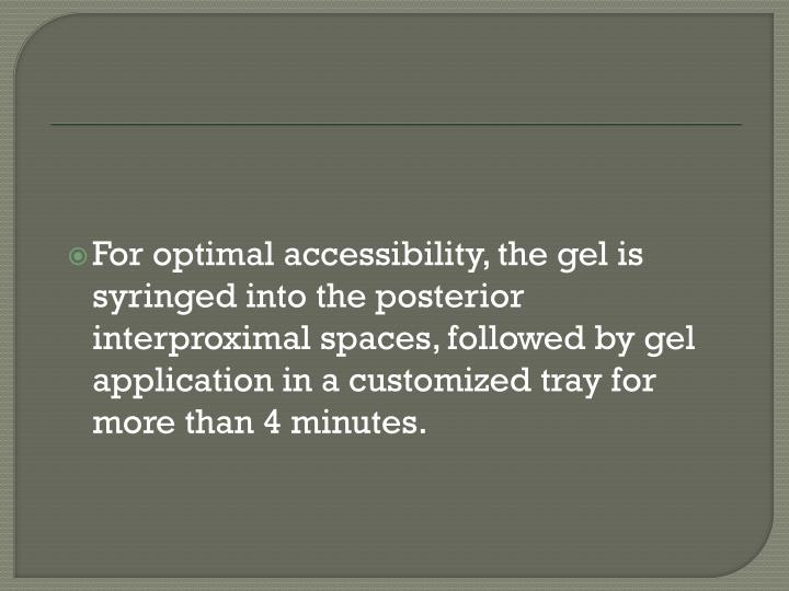 For optimal accessibility, the gel is syringed into the posterior interproximal spaces, followed by gel application in a customized tray for more than 4 minutes.