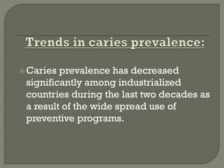 Trends in caries prevalence
