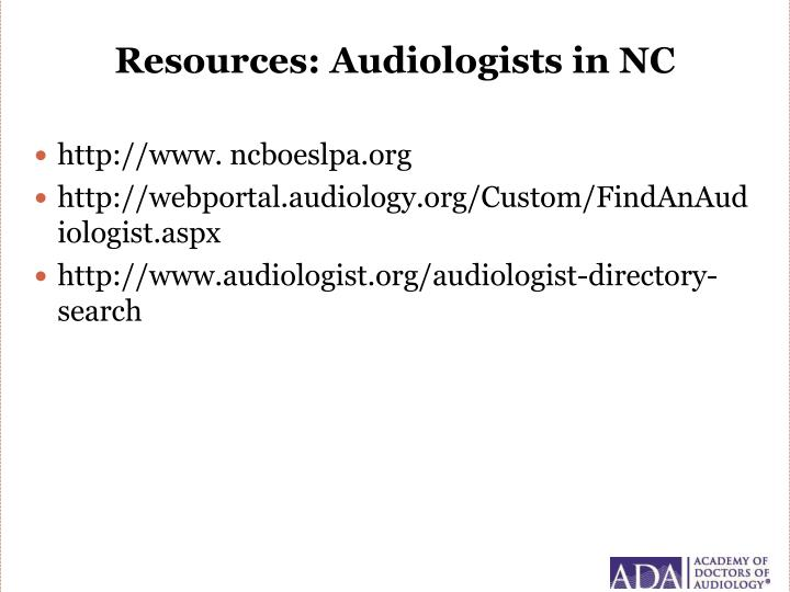 Resources: Audiologists in NC