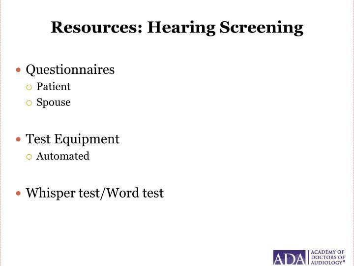 Resources: Hearing Screening