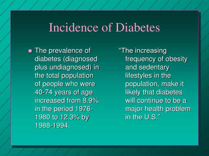 The prevalence of diabetes (diagnosed plus undiagnosed) in the total population of people who were 40-74 years of age increased from 8.9% in the period 1976-1980 to 12.3% by 1988-1994.